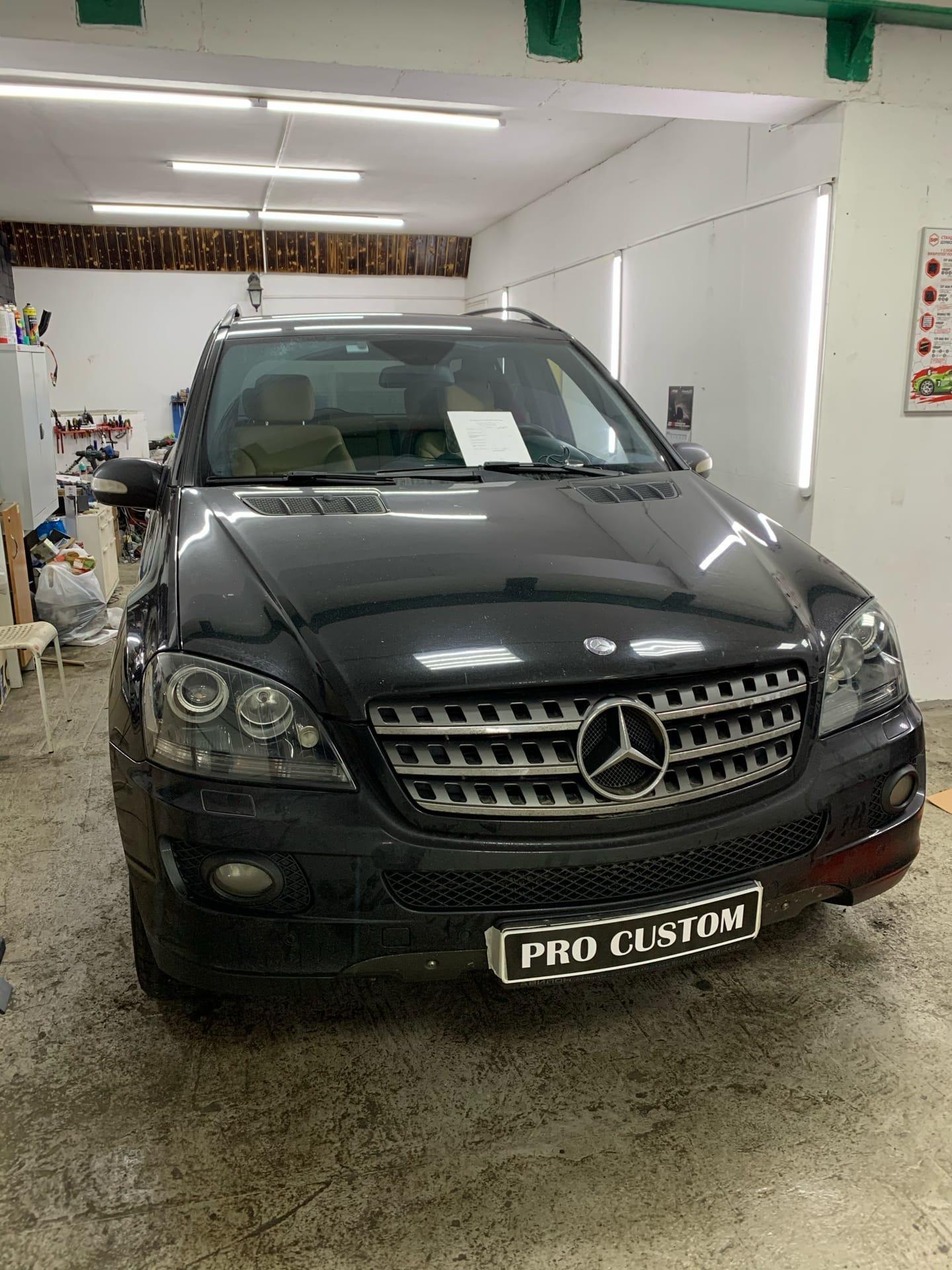 Замена штатных ксеноновых линз на  bi led Mercedes ml 164